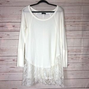 Venus Thermal Tunic Top With Lace Trim Size S